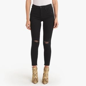 Mother The Looker Ankle Fray Distressed Jeans